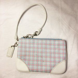 Coach Wristlet Blue and Pink Plaid